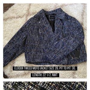 ELOQUII plus size tweed moto jacket